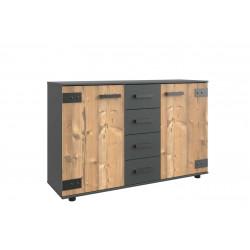 Commode adulte style industriel 130 cm marron/graphite Nashville