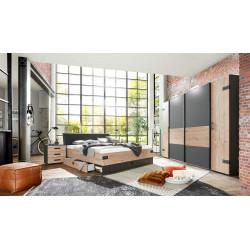 Chambre adulte style industriel marron/graphite Nashville