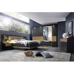 Chambre adulte moderne gris foncé/chêne Houston