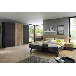 Chambre adulte moderne gris foncé/chêne Fabiane