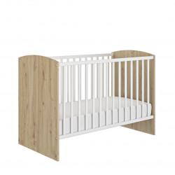 Lit bébé à barreaux contemporain chêne/blanc Jennie