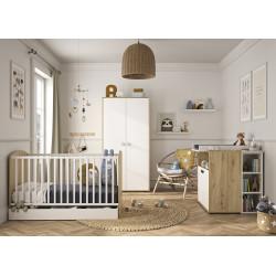Chambre bébé contemporaine chêne/blanc Jennie