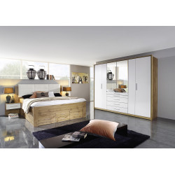 Chambre adulte moderne chêne/blanc William