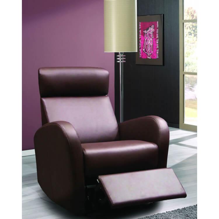 Fauteuil de relaxation 100 % cuir électrique avec repose-pieds intégré MONACO