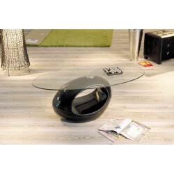 Table basse design en verre coloris noir Tina