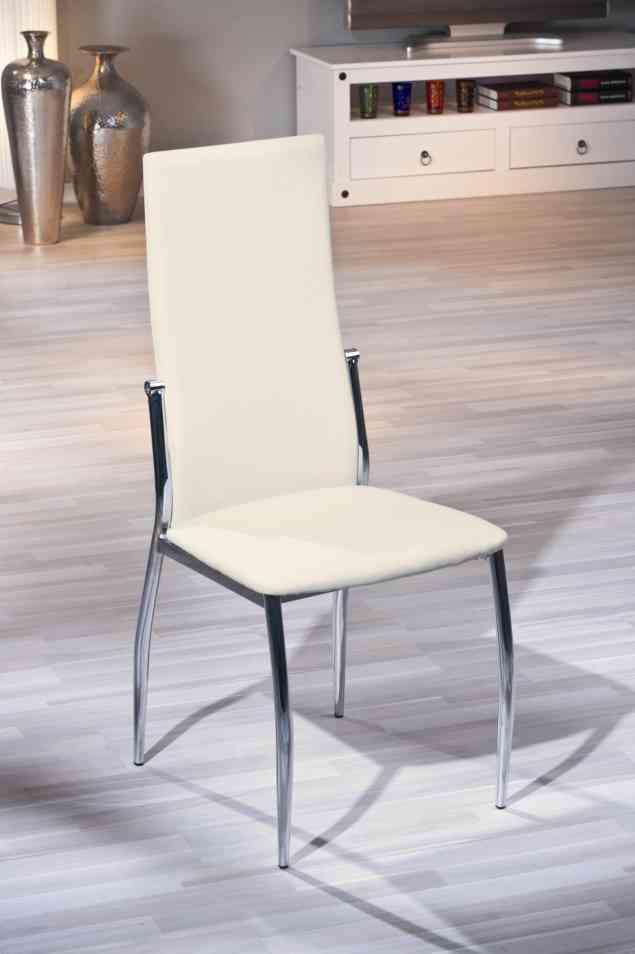 Chaise de salle à manger design coloris écru Dallas