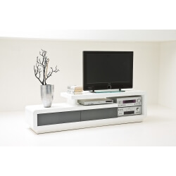 Meuble TV design blanc brillant/gris Erwin