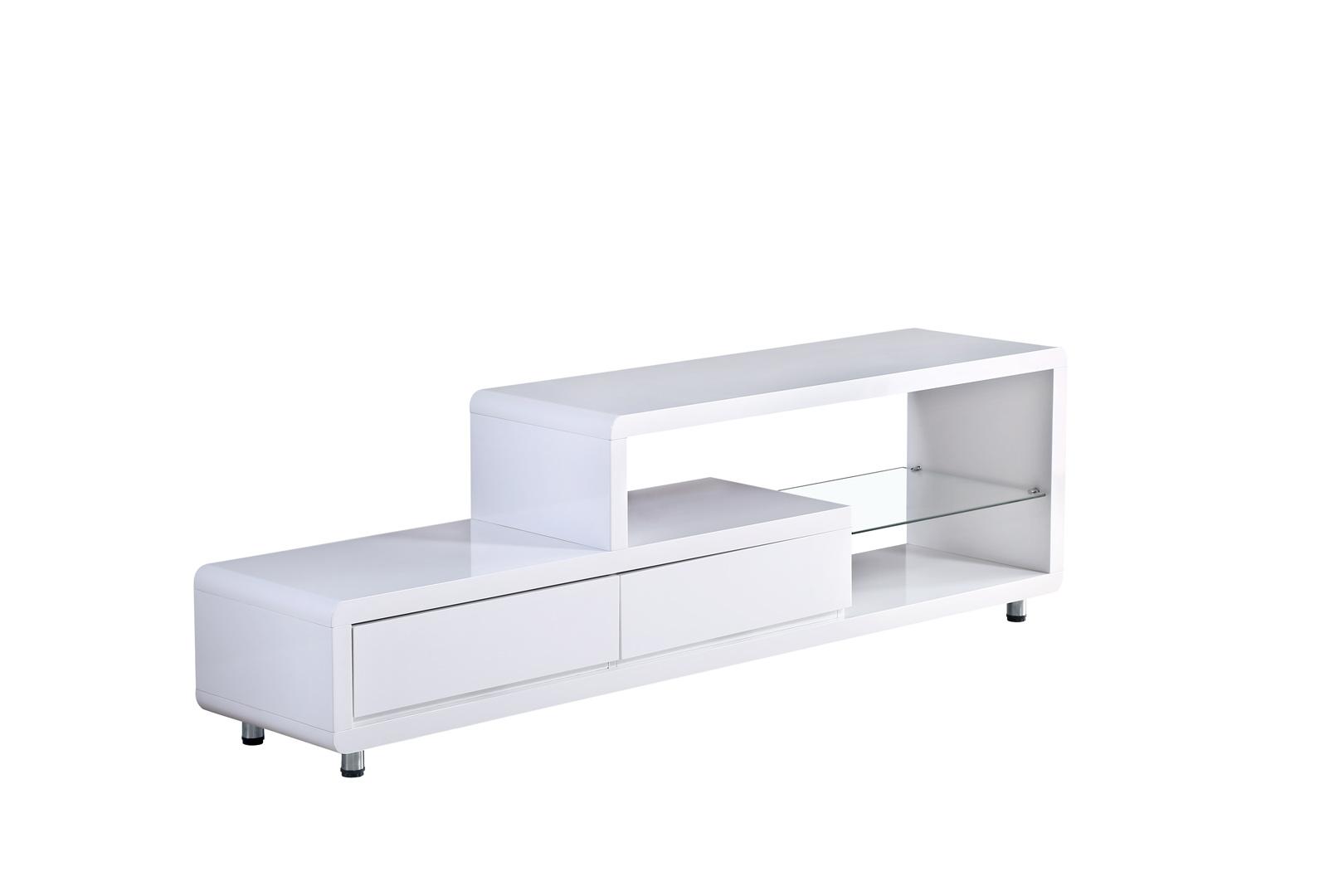 Meuble TV design blanc brillant Lenny
