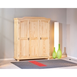 Armoire contemporaine 3 portes en pin massif naturel Elodie