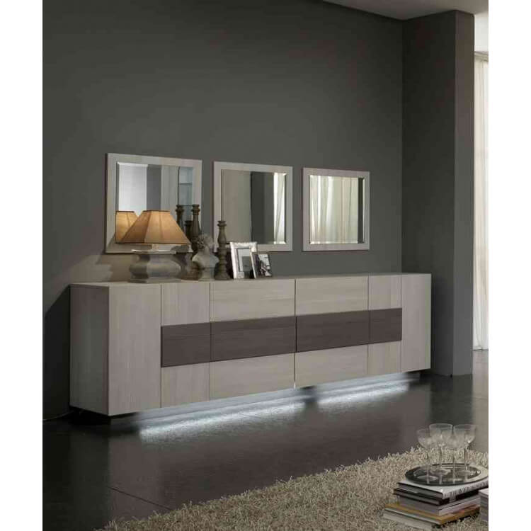 Buffet/bahut contemporain 2 portes/6 tiroirs chêne blanchi Luxus