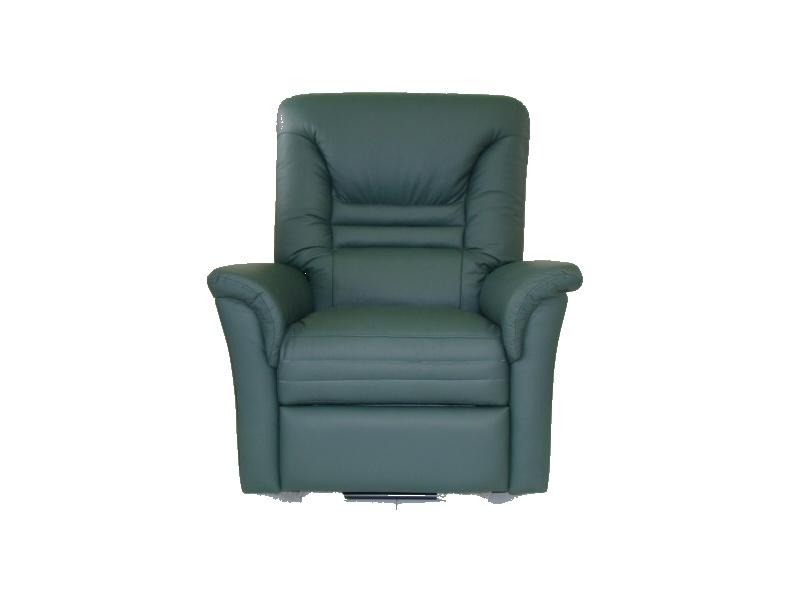 Fauteuil de relaxation cuir électrique avec repose-pieds intégré ZEBRA -Vert