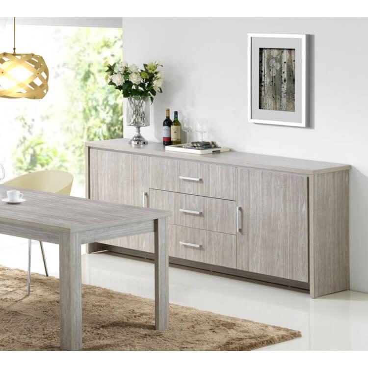 buffet bahut contemporain 2 portes 3 tiroirs ch ne gris tristan matelpro. Black Bedroom Furniture Sets. Home Design Ideas
