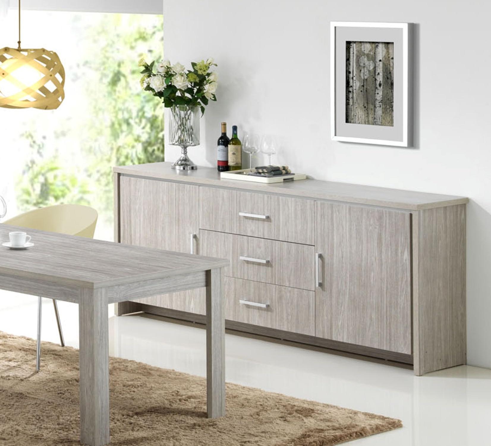 Buffet/bahut contemporain 2 portes/3 tiroirs chêne gris Tristan