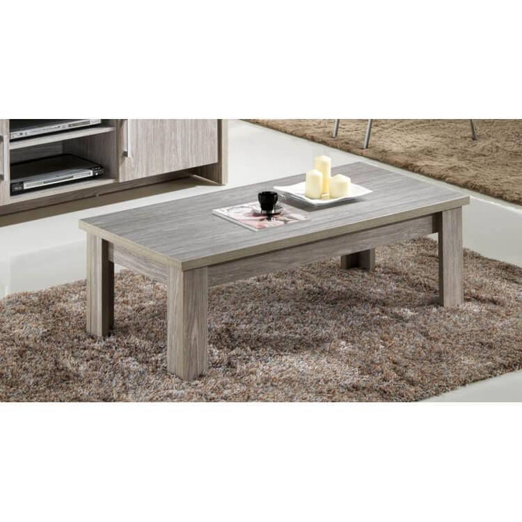 Table basse contemporaine rectangulaire chêne gris Tristan