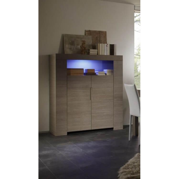 Vaisselier/bar contemporain 2 portes chêne gris Jamie