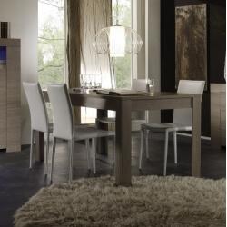 Table de salle à manger contemporaine chêne gris Jamie