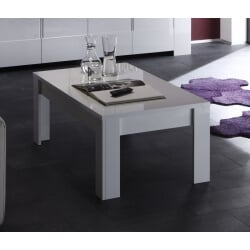 Table basse rectangulaire design laqué blanc Judy