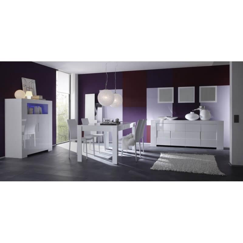 salle manger compl te design blanc laqu judy matelpro. Black Bedroom Furniture Sets. Home Design Ideas