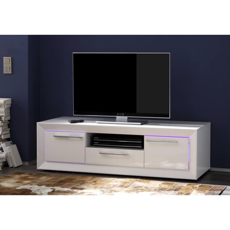Meuble tv hifi design blanc laqu c cilia matelpro - Meuble tv hifi blanc laque ...