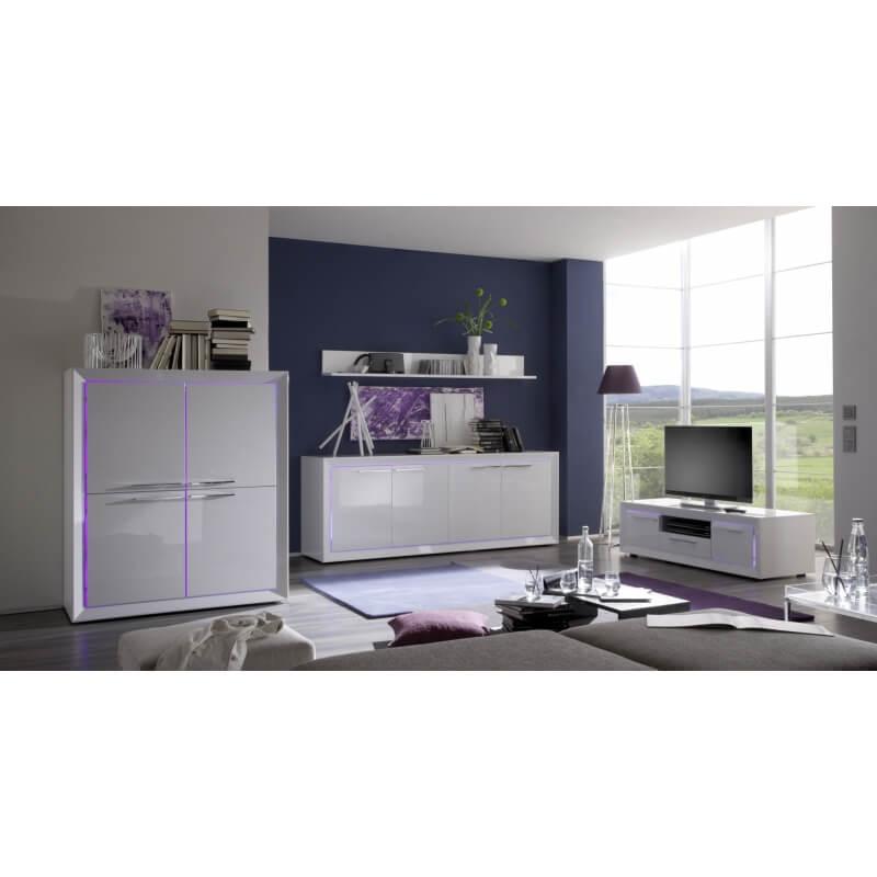 meuble tv hifi design blanc laqu c cilia matelpro. Black Bedroom Furniture Sets. Home Design Ideas