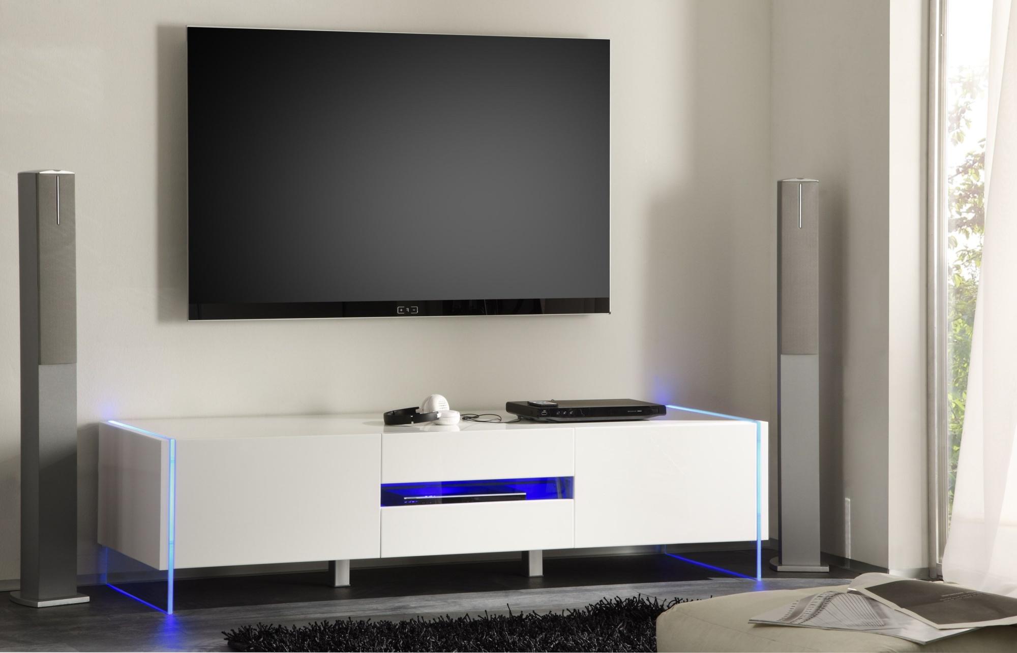 Meuble Tv Hifi Design Laque Blanc Excellence Matelpro