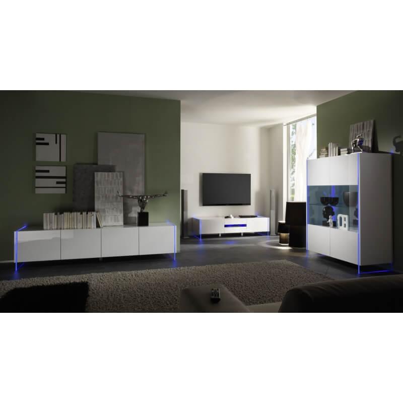 meuble tv hifi design laqu blanc excellence matelpro. Black Bedroom Furniture Sets. Home Design Ideas