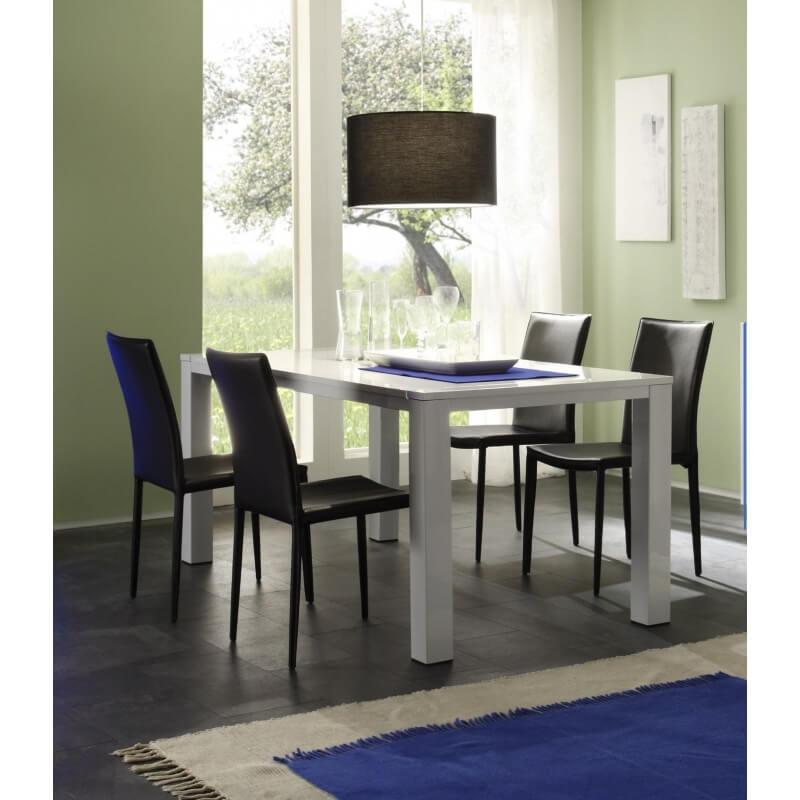 Table de salle manger design blanc laqu excellence - Table salle a manger design blanc laque ...