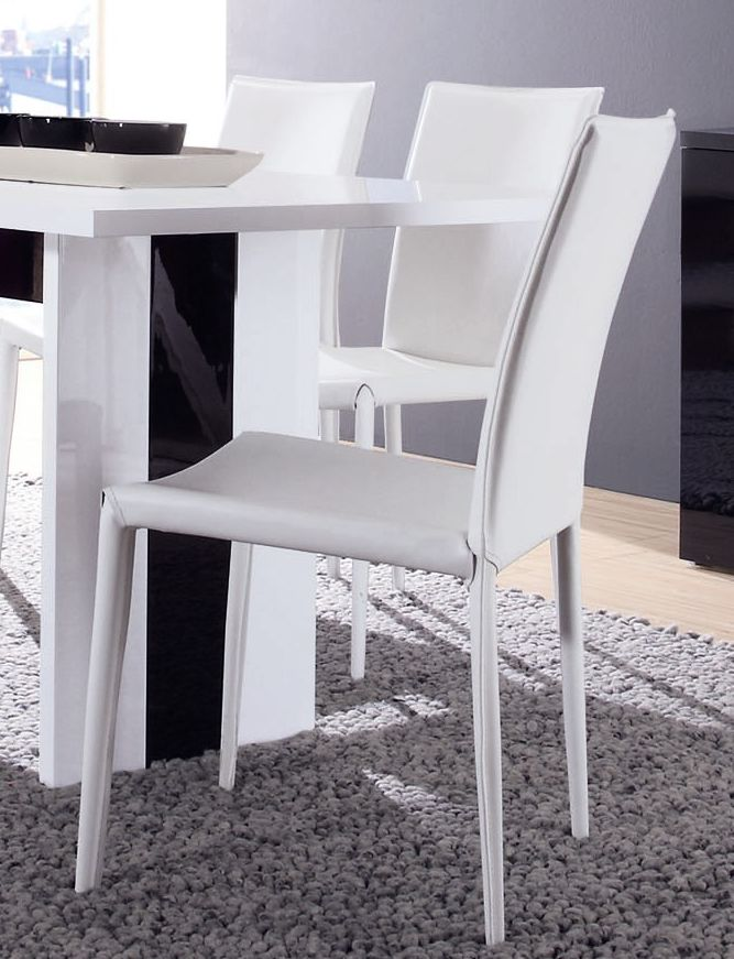 Chaise de salle à manger contemporaine (lot de 4) coloris blanc Maroussia