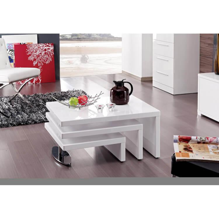 Table Basse Design Pivotante Blanc Laque Carina