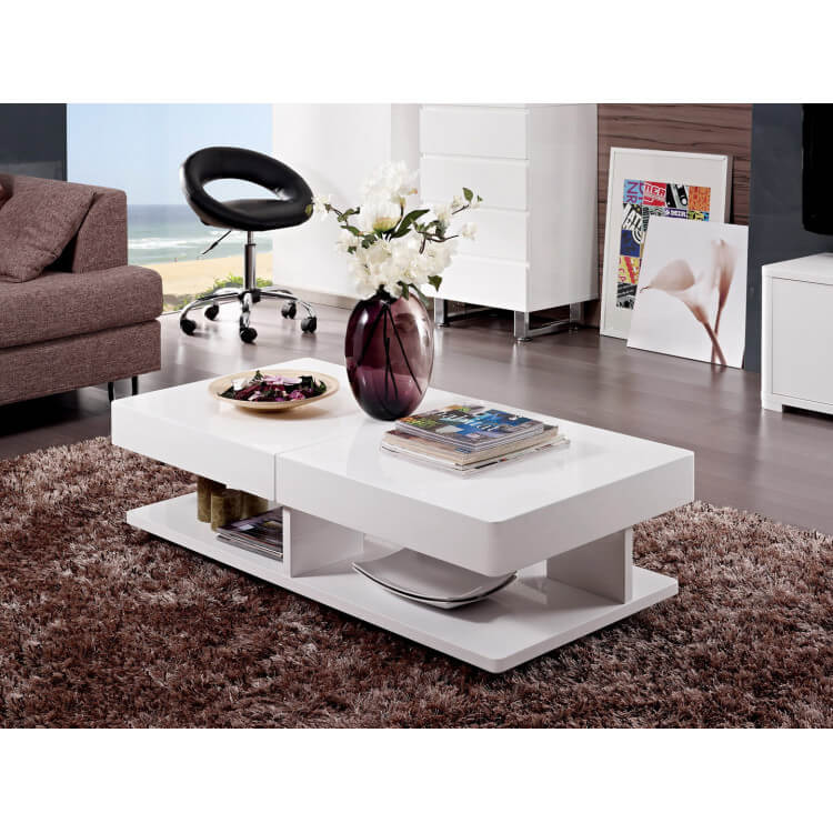 Basse Table Laqué Blanc Design Alvina m0wOvN8n