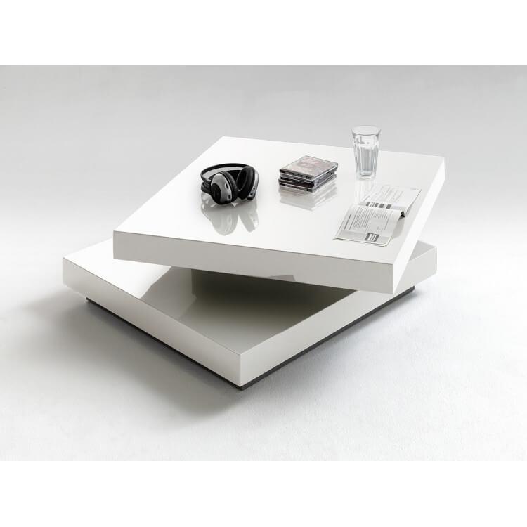 Table Basse Design Pivotante Laque Blanc Mirella