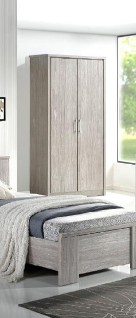 Armoire 2 portes contemporaine chêne gris Kyliane