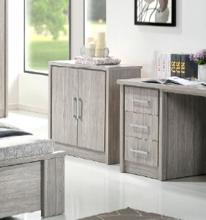 Commode 2 portes contemporaine chêne gris Kyliane