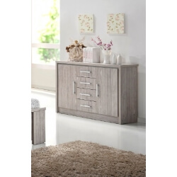 Commode 2 portes/4 tiroirs contemporain chêne gris Kyliane