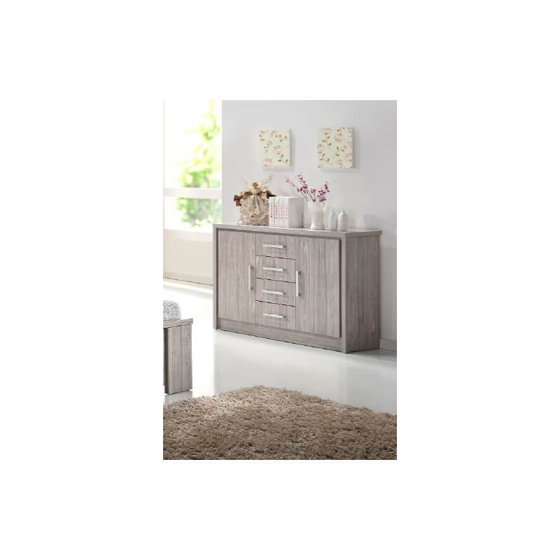 commode 2 portes 4 tiroirs contemporain ch ne gris kyliane matelpro. Black Bedroom Furniture Sets. Home Design Ideas