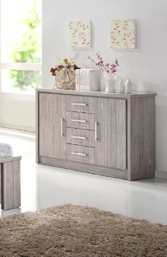 Commode 2 portes/4 tiroirs contemporain chêne gris Kyliane