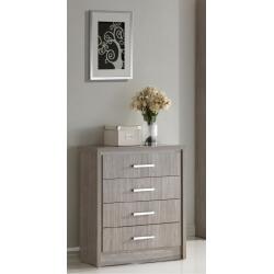 Commode 4 tiroirs contemporaine chêne gris Kyliane
