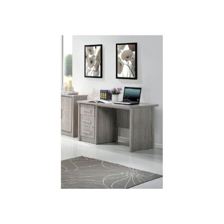Bureau contemporain 3 tiroirs chêne gris Kyliane