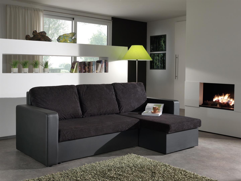 Canapé d'angle convertible réversible noir Milo