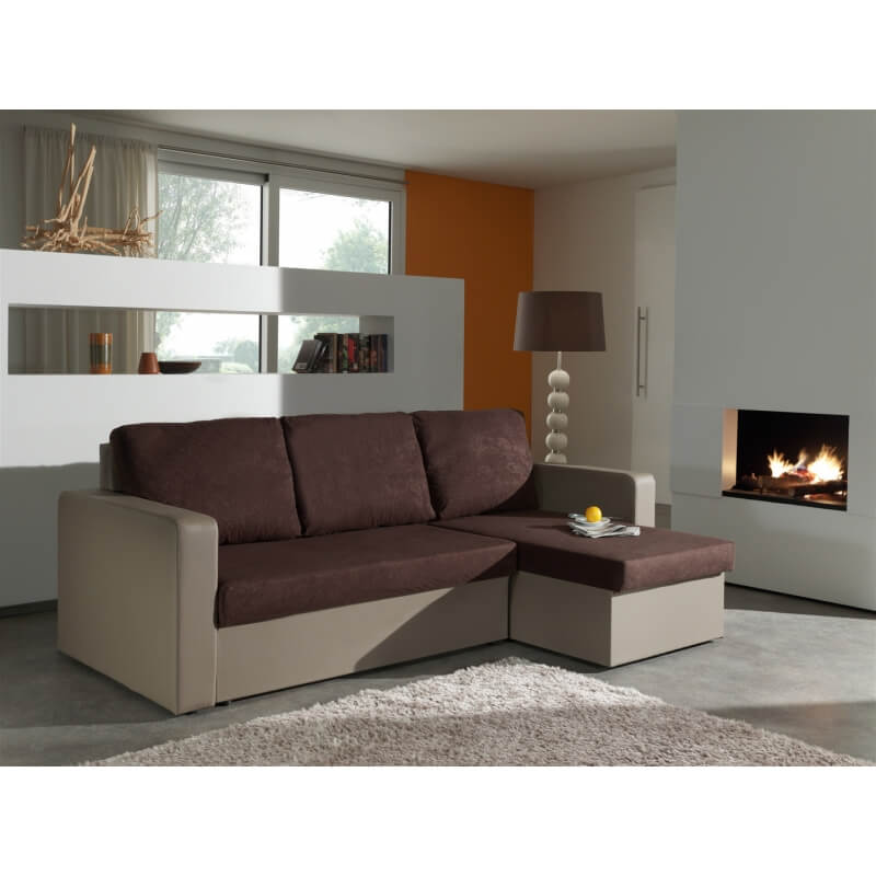 Canap d 39 angle convertible r versible taupe chocolat milo - Canape d angle convertible taupe ...
