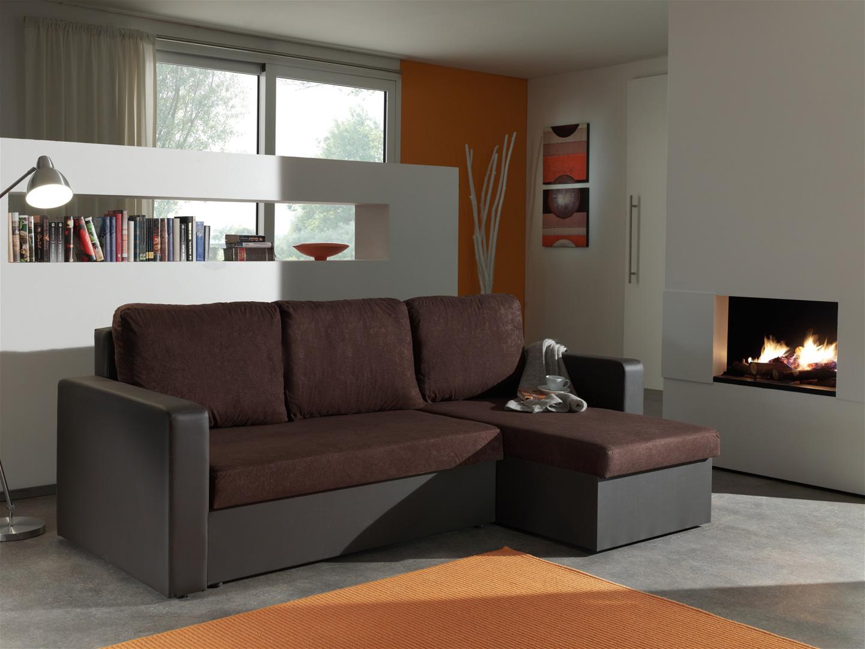 Canapé d'angle convertible réversible coloris chocolat Milo