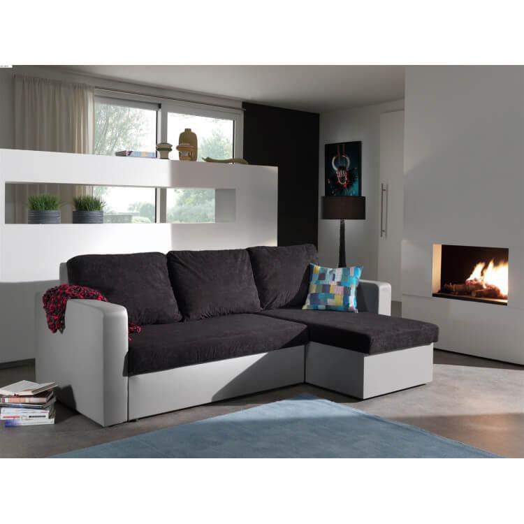 Canapé d'angle convertible réversible gris/noir Milo