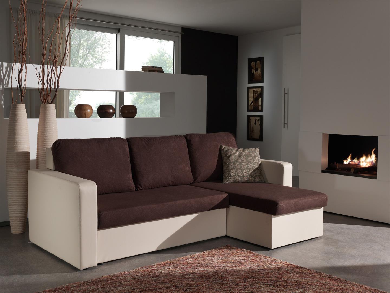 Canapé d'angle convertible réversible ivoire/chocolat Milo
