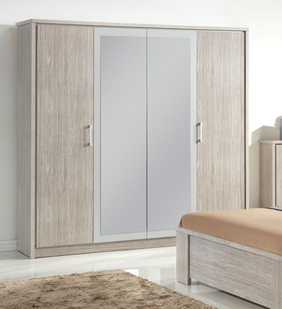 Armoire contemporaine 4 portes avec miroir chêne gris Kyliane