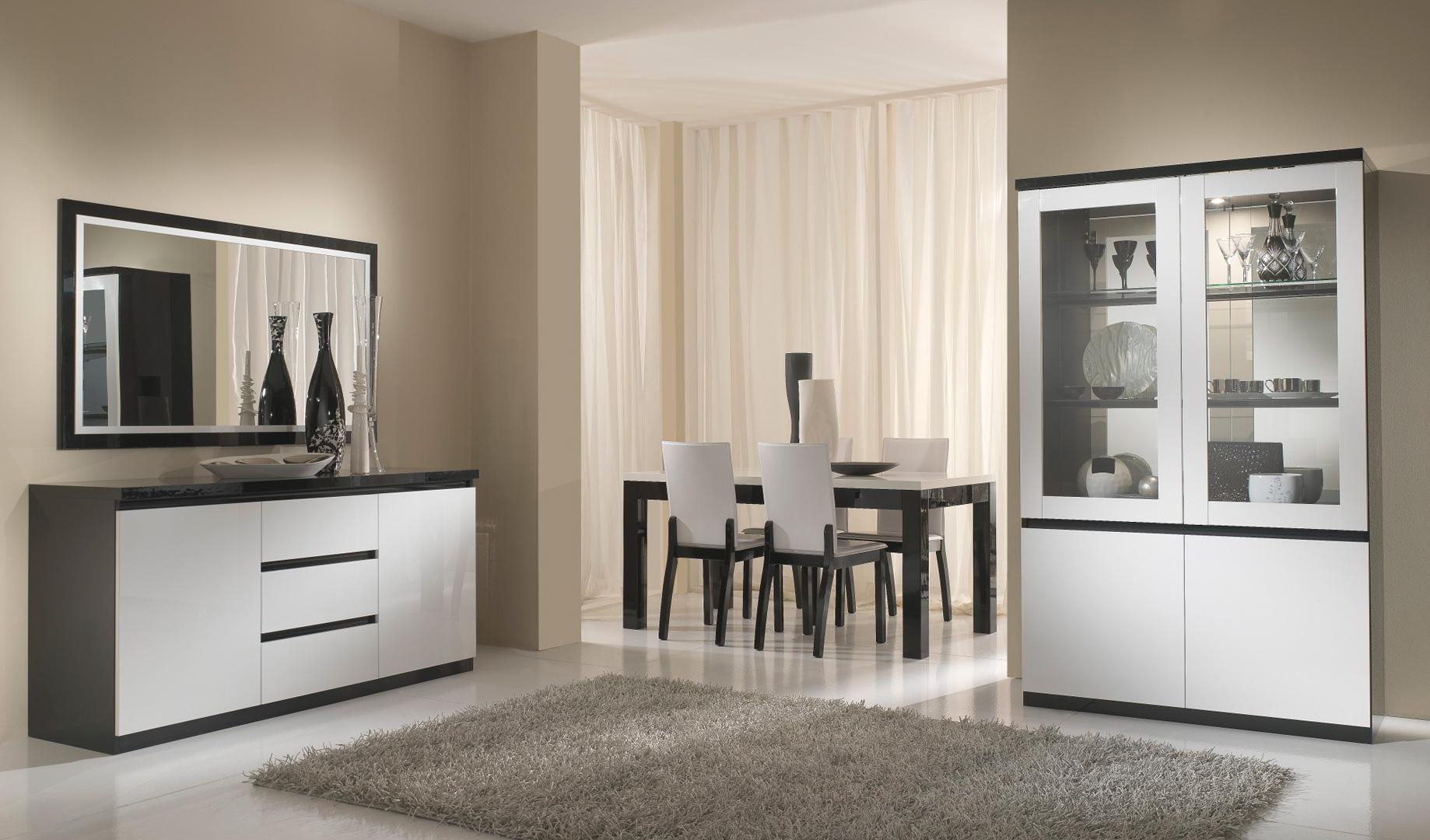 Salle à manger complète design laquée blanche et noir Krista