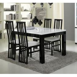 Table de salle à manger design laquée blanche et noire Krista