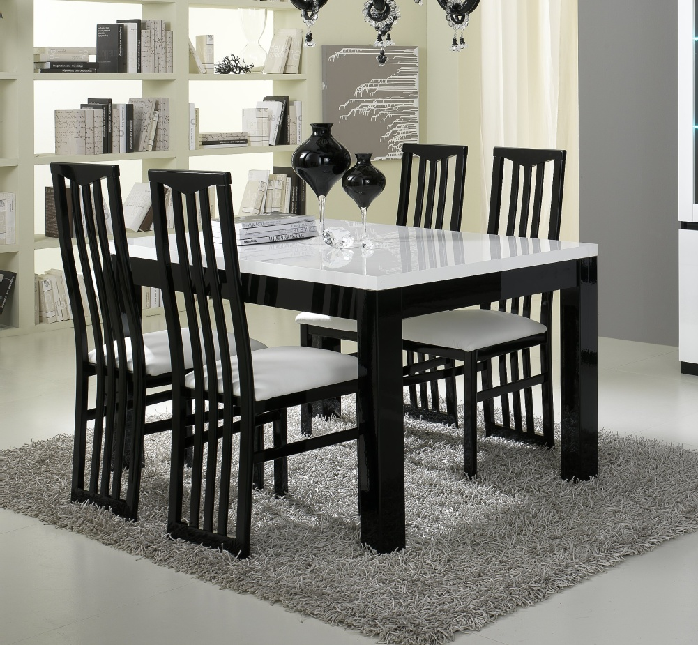 table de salle manger design laqu e blanche et noire krista matelpro. Black Bedroom Furniture Sets. Home Design Ideas
