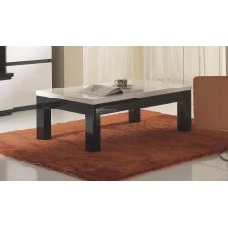 Table basse design laquée blanche et noire Krista-Rectangulaire