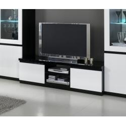 Meuble TV design laqué blanc/noir Krista
