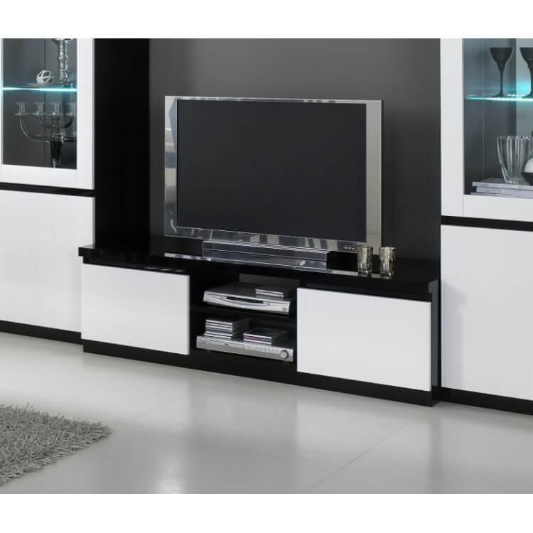 Meuble Tv Design Laque Blanc Noir Krista Matelpro